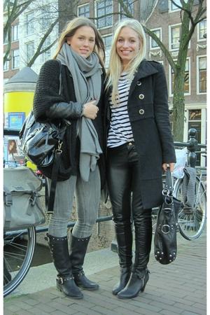 black Guess boots - gray circle of trust jeans - gray Zara scarf - black Zara ca