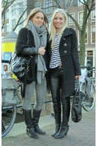 black Guess boots - gray circle of trust jeans - gray Zara scarf - black Zara ca