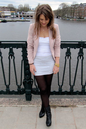 pink Rinascimento blazer - gray H&M skirt - white acne top - black COS shoes
