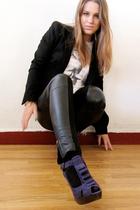 black Zara blazer - white Roxy t-shirt - blue Topshop shoes