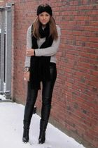 black Zara pants - black COS shoes - gray Zara sweater - silver vivienne westwoo