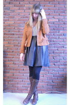 orange vintage jacket - black Episode skirt - brown vintage boots - white H&M to