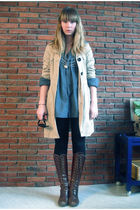 blue dads shirt - beige Vero Moda coat - brown vintage boots - black H&M legging