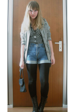 green H&M jacket - black trifted h&m blouse - blue ebay levi shorts - black vint