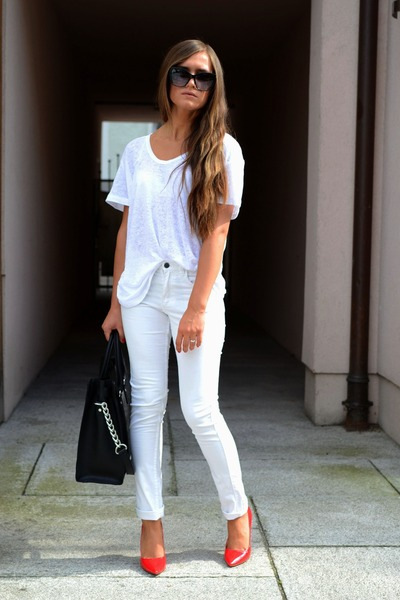 Michael Kors bag - Zara heels - Mango blouse - H&M pants