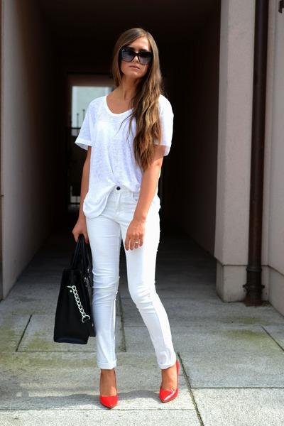 Michael Kors bag - Zara heels - Mango blouse - H&M pants
