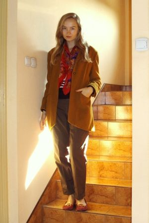 orange vintage coat - brown Zara pants - red Urban Outfitters shoes