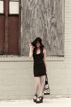 black Urban dress - beige Betsey Johnson stockings - black Jessica Simpson shoes