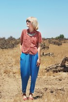blue vintage pants - red vintage shirt - salmon Swedish Hasbeens x H&M clogs
