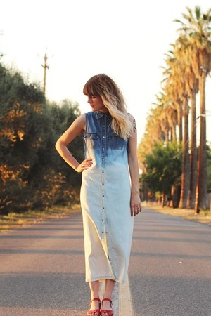 hand dip dyed Vintage Ralph Lauren dress - Sweedish Hasbeens & H&M sandals