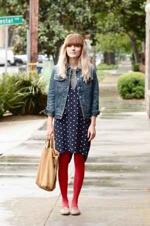 polka dot thrifted vintage dress - leopard loafers dieppa restrepo shoes