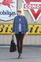 booties vintage shoes - vintage jacket - aglassjar shirt - faux fur vintage bag