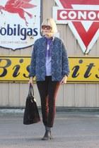 booties vintage shoes - vintage jacket - aglassjar shirt - faux fur vintage bag