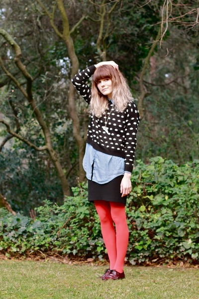 FOR-E-VER 21 sweater - dieppa restrepo shoes - H&M shirt - Anthropologie tights