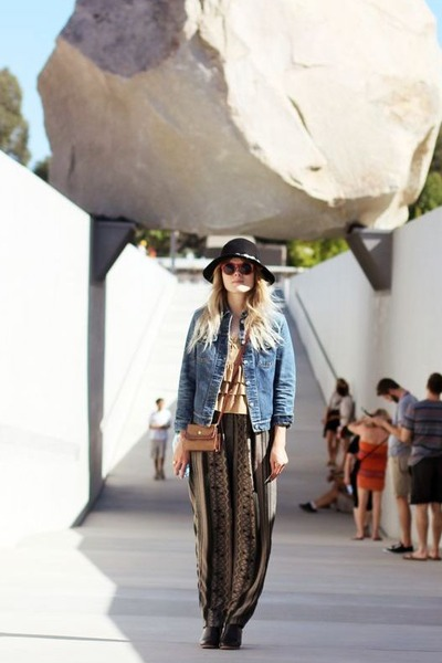 light blue thrifted Helmut Lang jacket - dark brown Rachel Comey boots