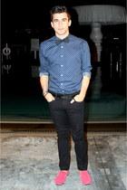 blue polka dots Urban Outfitters shirt - dark gray Zara pants