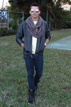dark gray Aldo boots - blue Forever 21 jeans - dark gray leather Zara jacket