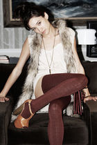 beige fur H&M vest - beige platforms Jessica Simpson shoes
