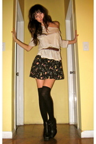 Urban Outfitters top - Urban Outfitters skirt - H&M stockings - sam edelman boot