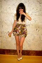 yellow printed handmade skirt - white platforms Topshop shoes
