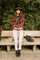 heather gray 9 days jeans - black LF boots - beige vintage jacket