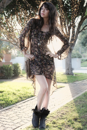 black Jeffrey Campbell boots - black LF dress