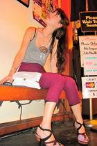 gray American Apparel top - pink vintage pants - purple Prada shoes