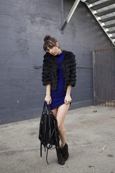 black LF stores coat - blue t by alexander wang dress