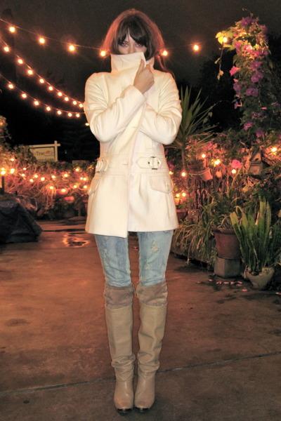 pink Tigerlily sweater - beige vintage boots - white AMERICAN VINTAGE jacket - b