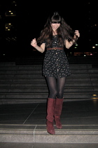 black from Thailand dress - black tights - red from Thailand boots