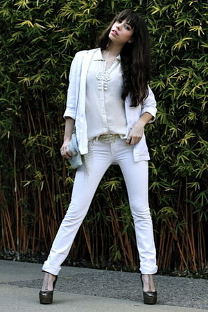 white Seven jeans - white Topshop blazer - cream vintage purse - bronze sam edel