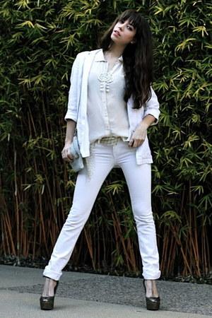 white Seven jeans - white Topshop blazer - cream vintage purse - bronze sam edel