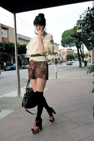 white Urban Outfitters sweater - orange Jessica Simpson shoes
