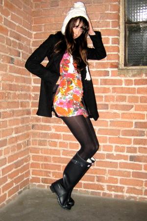 blue rain boots Hunter boots - pink zip front Forever 21 dress