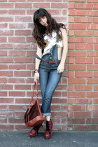 white vintage top - ruby red Jeffrey Campbell boots - overalls Forever21 jeans
