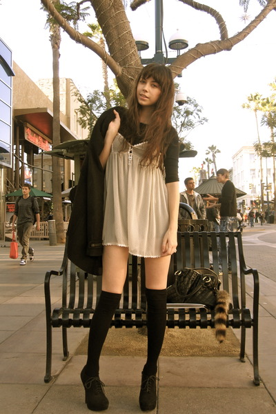 black H&M jacket - black Forever 21 shoes - eggshell Urban Outfitters dress