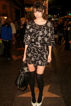 black H&M socks - beige Topshop shoes - black leopard print from Thailand dress