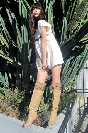 white vintage dress - beige vintage boots