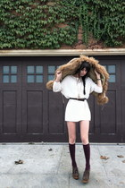 cream vintage dress - dark brown Jeffrey Campbell shoes - camel vintage jacket