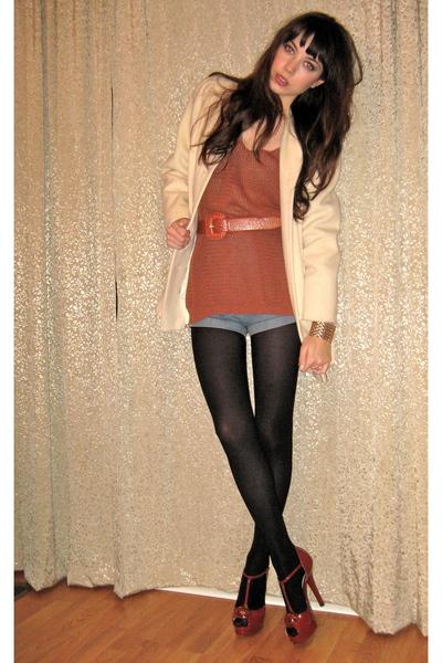 beige vintage jacket - orange Fendi shoes - orange vintage sweater