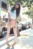 white vintage t-shirt - white Sabre sunglasses - ivory Jeffery Campbell wedges