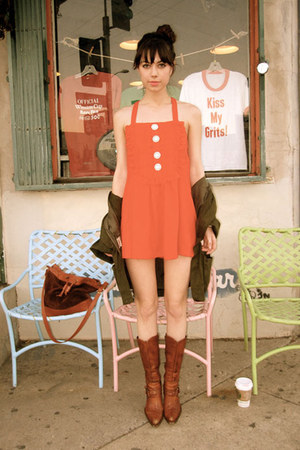 brown vintage boots - red vintage dress - olive green LF jacket