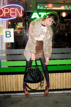 dark brown vintage skirt - camel Jessica Simpson shoes - camel vintage jacket