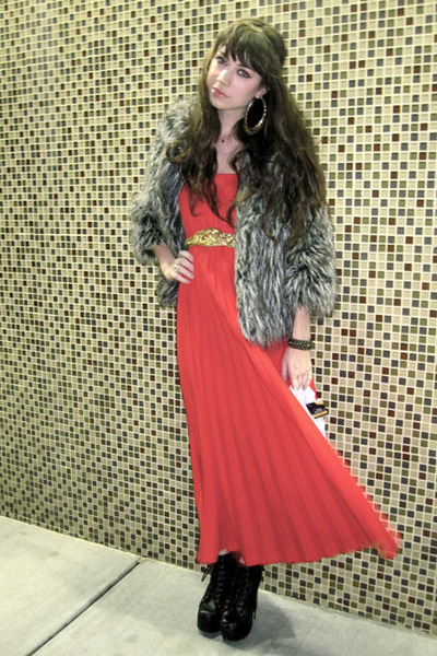 red vintage dress - gray Mossimo jacket - black Jeffrey Campbell boots