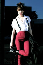 black Givenchy boots - white thailand find blouse - maroon vintage pants