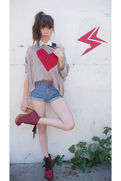 red Jeffrey Campbell boots - pink Number A sweater - blue Mink Pink shorts