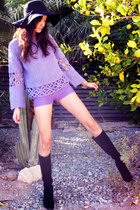 black from Thailand hat - purple vintage sweater - purple thrifted shorts - blac