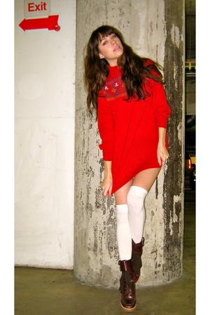 red vintage sweater - white H&M socks - brown Marc Jacobs boots