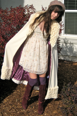 white a lucky find jacket - purple suede boots vintage boots