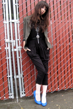 black jumper from Thailand pants - blue Topshop shoes - gray vintage blazer